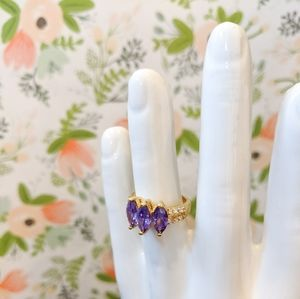 Purple Crystal Three Stone Marquise Ring - Size 7